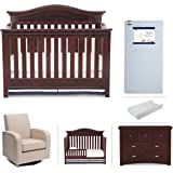 Simmons Kids Augusta 6-Piece Molasses Brown Nursery Furniture Set: Convertible Crib | Daybed/Toddler Guardrail | Dresser | Changing Pad | Crib Mattress |Glider