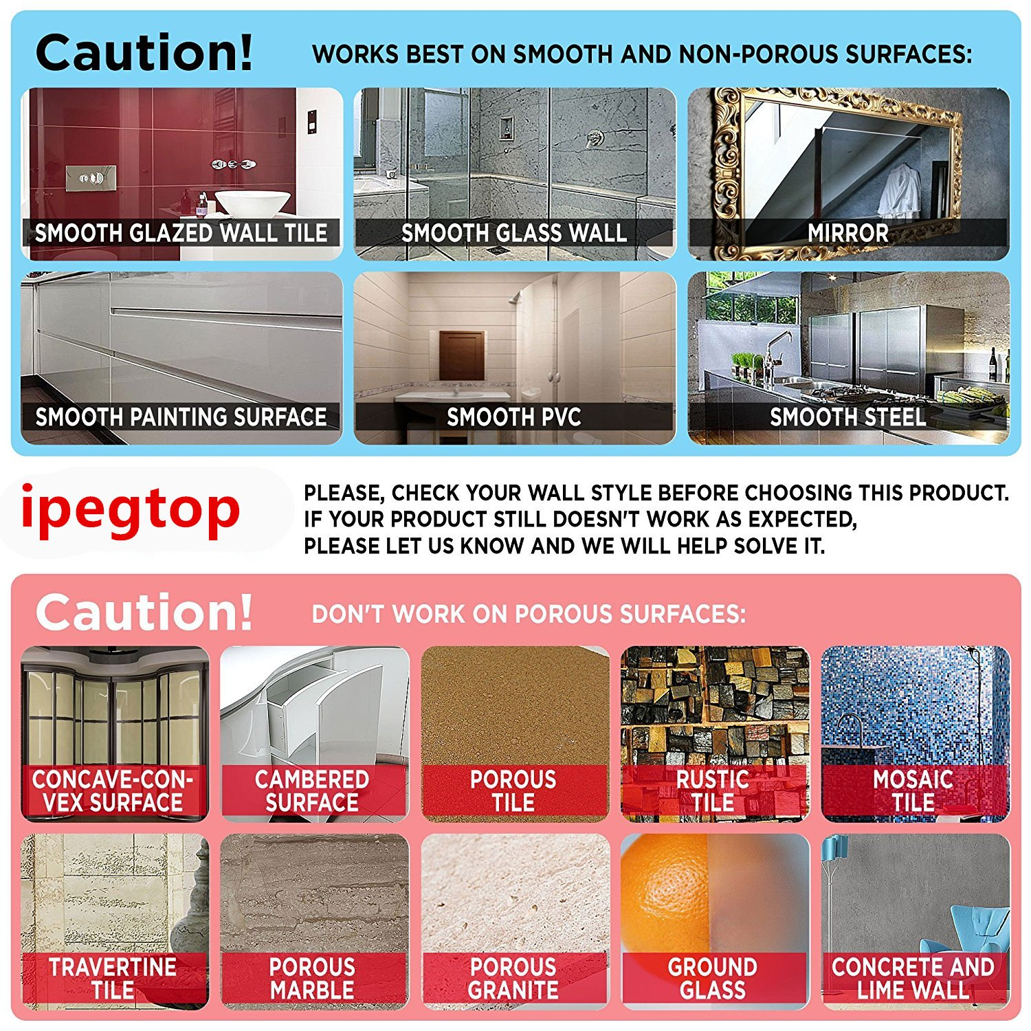 iPEGTOP Strong Suction Cup Hooks Damage Free Stainless Steel Hook for Towel, Robe, Loofah, Bags, Coat, Kitchen Tools and Bathroom Accessories, 3 Pack by iPEGTOP (Image #7)