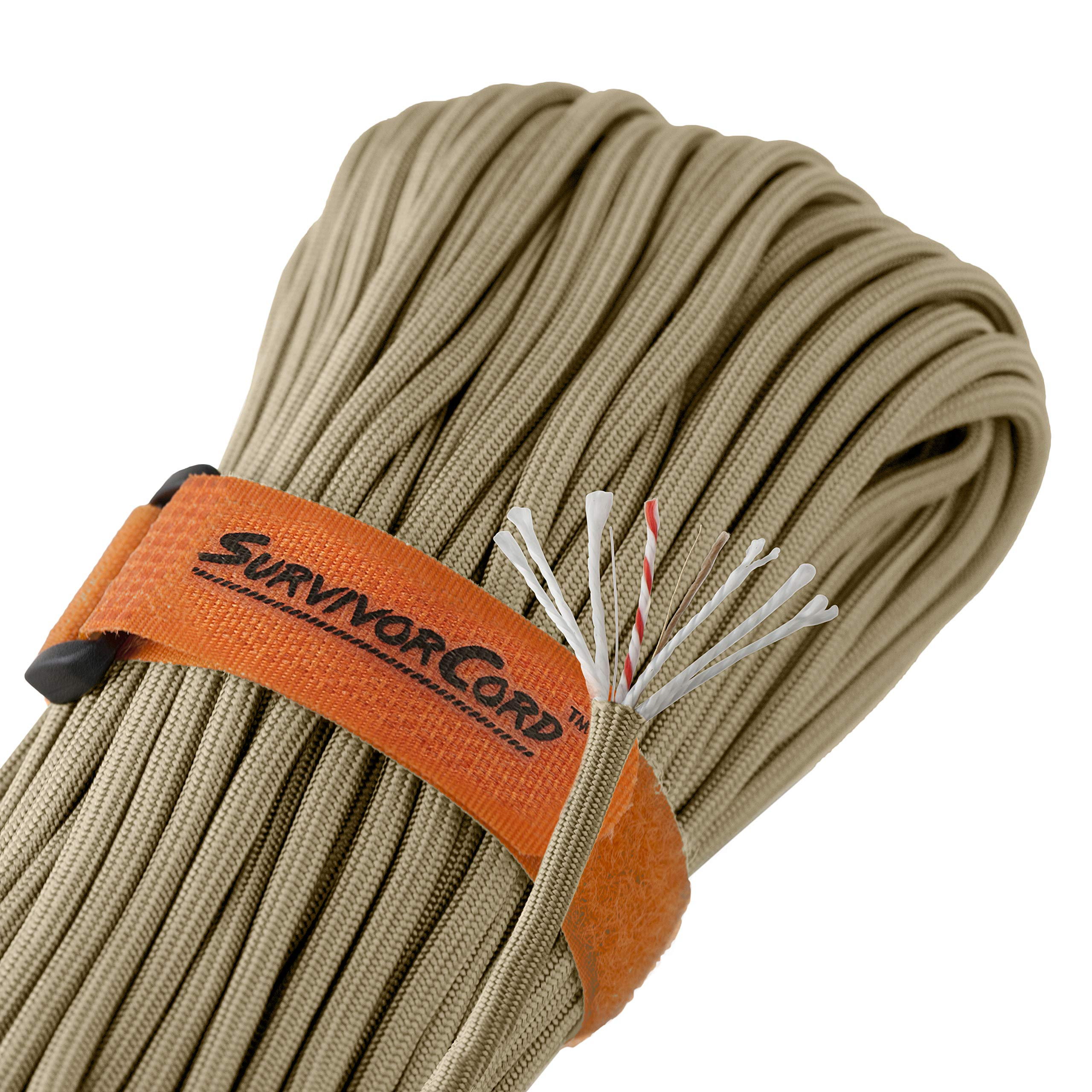 Titan SurvivorCord | Desert TAN | 103 Feet | Patented Military Type III 550 Paracord/Parachute Cord (3/16'' Diameter) with Integrated Fishing Line, Fire-Starter, and Utility Wire. by Titan Paracord (Image #2)