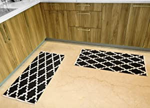 The Home Talk Moroccan Cotton Area Rug Hand Woven with Print Throw Kitchen Rugs Door Mat with Anti-Skid Backing, Indoor Area Rugs for Bathroom, Bedroom, Kitchen (20x40 INCH, Black)- Pack of 2