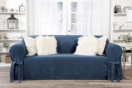Classic Slipcovers one Piece Sofa Denim slipcover, Blue