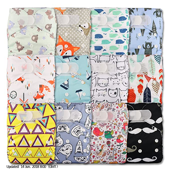 with 12 Bamboo Inserts Reusable Pocket Cloth Nappy Set of 12 Patterns 1207 Littles /& Bloomz Fastener: Popper