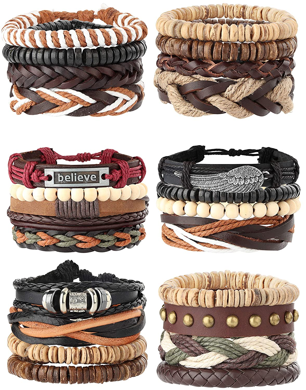 Milacolato 26Pcs Woven Braided Leather Bracelet for Men Women Hemp Cords Wood Beads Cuff Bracelets Adjustable QT-L-B00010-black