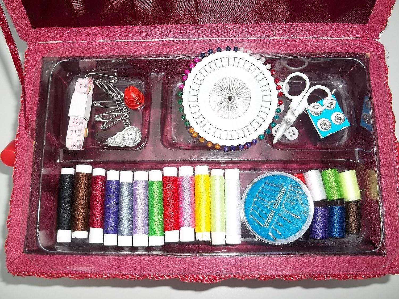 avec kit de couture handarbeitskorb-blanc rouge Bo/îte /à couture