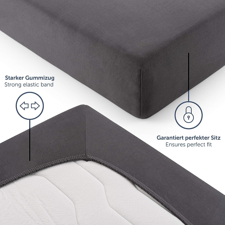 bis 8cm Topperh/öhe Anthrazit 100/% Baumwolle Bettlaken Blumtal Basics Topper Spannbettlaken 90x 200 cm
