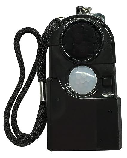 Alarma Portátil con Sensor de Movimiento y Linterna (Negro)