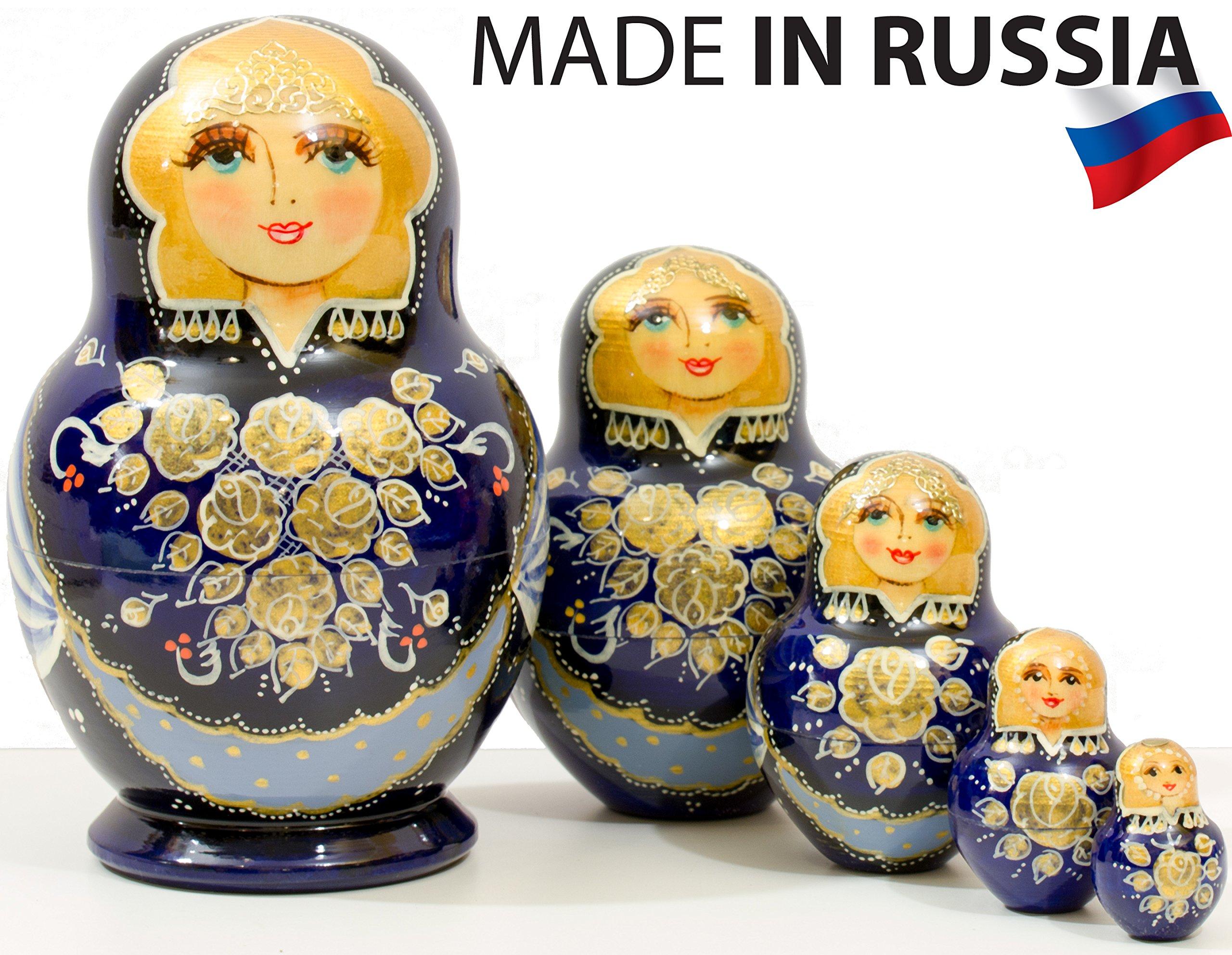 Russian Nesting Doll - Anastasia - Hand Painted in Russia - Traditional Matryoshka Babushka (6``(5 Dolls in 1), Dark Blue)