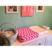 BUB Baby Wipeable Changing Table Pad Cover in Pink Chevron - Waterproof, Non Toxic, Plush Minky Material