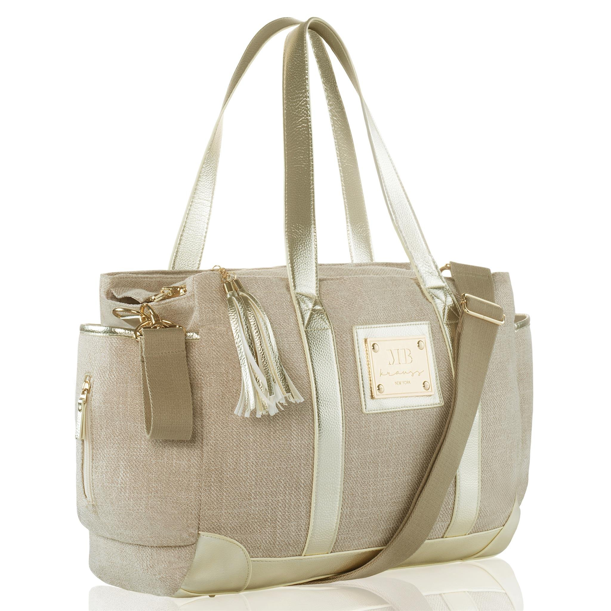 MB KRAUSS Large Diaper Bag Stylish Tote for Mom and Dad Baby    Organizer    Bag for Boys and Girls with Changing Pad   and Big Pockets (Beige) by MB KRAUSS