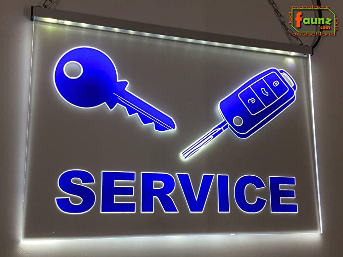 LED Cartel de llaves Service Azul foliert sobre Transparente ...
