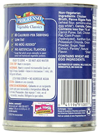 Progresso Low Fat Vegetable Classics Hearty Penne in Chicken Broth Soup 19 oz Can (pack of 6)