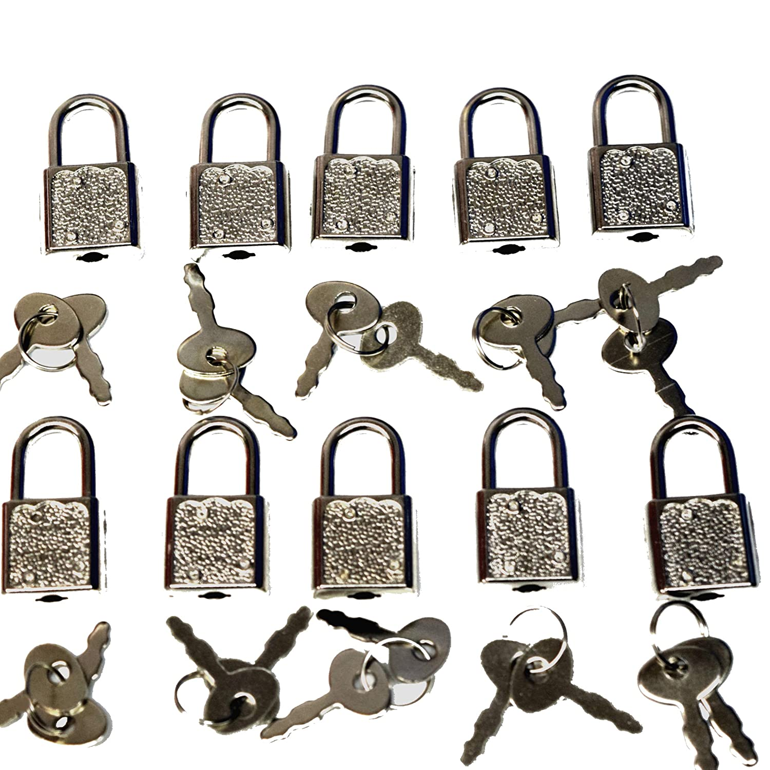(10 Pack) Lot of Mini Premium Padlocks with a Pair of Keys with Each Lock