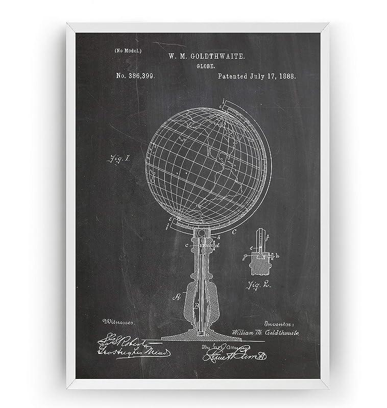 Globo Terraqueo 1888 Poster de Patente World Globe Patent Póster ...