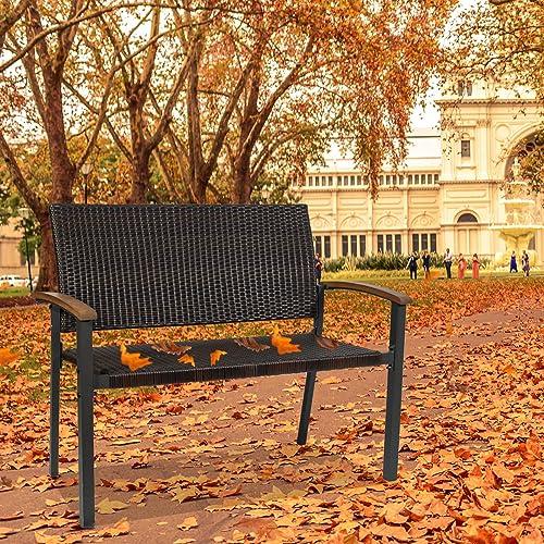 Outdoor Bench Wicker Bench Garden Bench Patio Bench Metal Frame Outdoor Love Seat Furniture