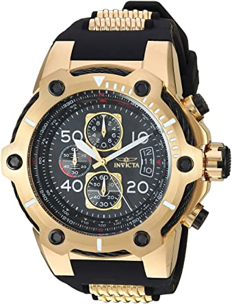 Invicta Mens Bolt Quartz Stainless Steel and Polyurethane Casual Watch, Color Black (