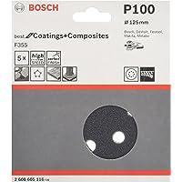 Bosch Pro Schleifblatt für Exzenterschleifer Lack und Kunststoff (5 Stück, Ø 125 mm, Körnung 100, F355)