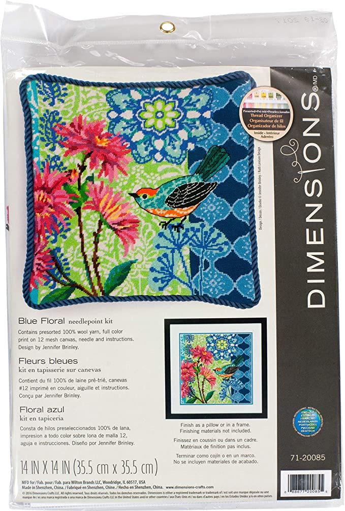 Dimensions Blue Floral Bird Needlepoint Kit for Beginners, 12 Mesh Canvas, 14 x 14