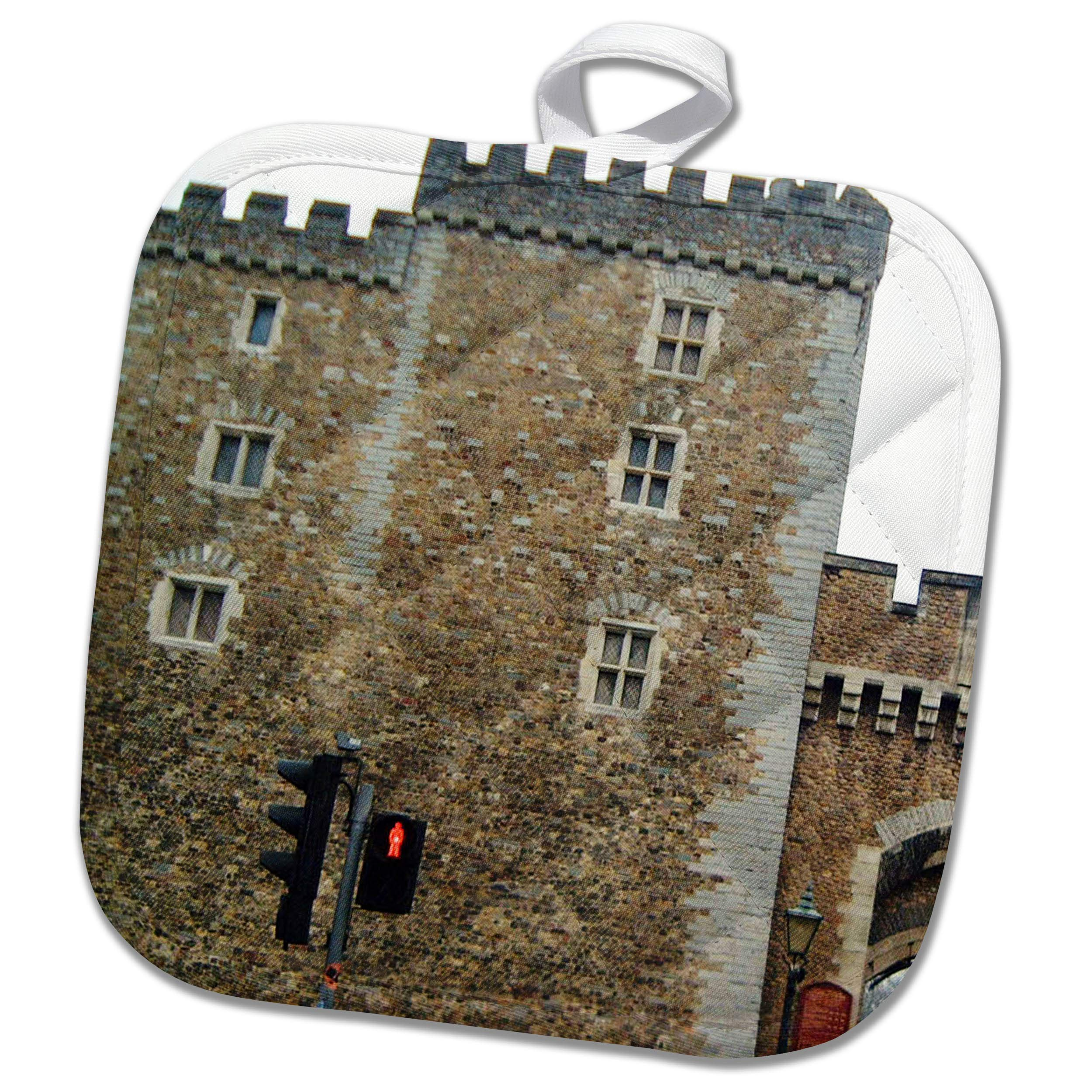 3dRose Jos Fauxtographee- Cardiff Wales Castle Wall - The Outer Walls of The Cardiff Castle in Wales on a Main Street - 8x8 Potholder (PHL_295691_1)