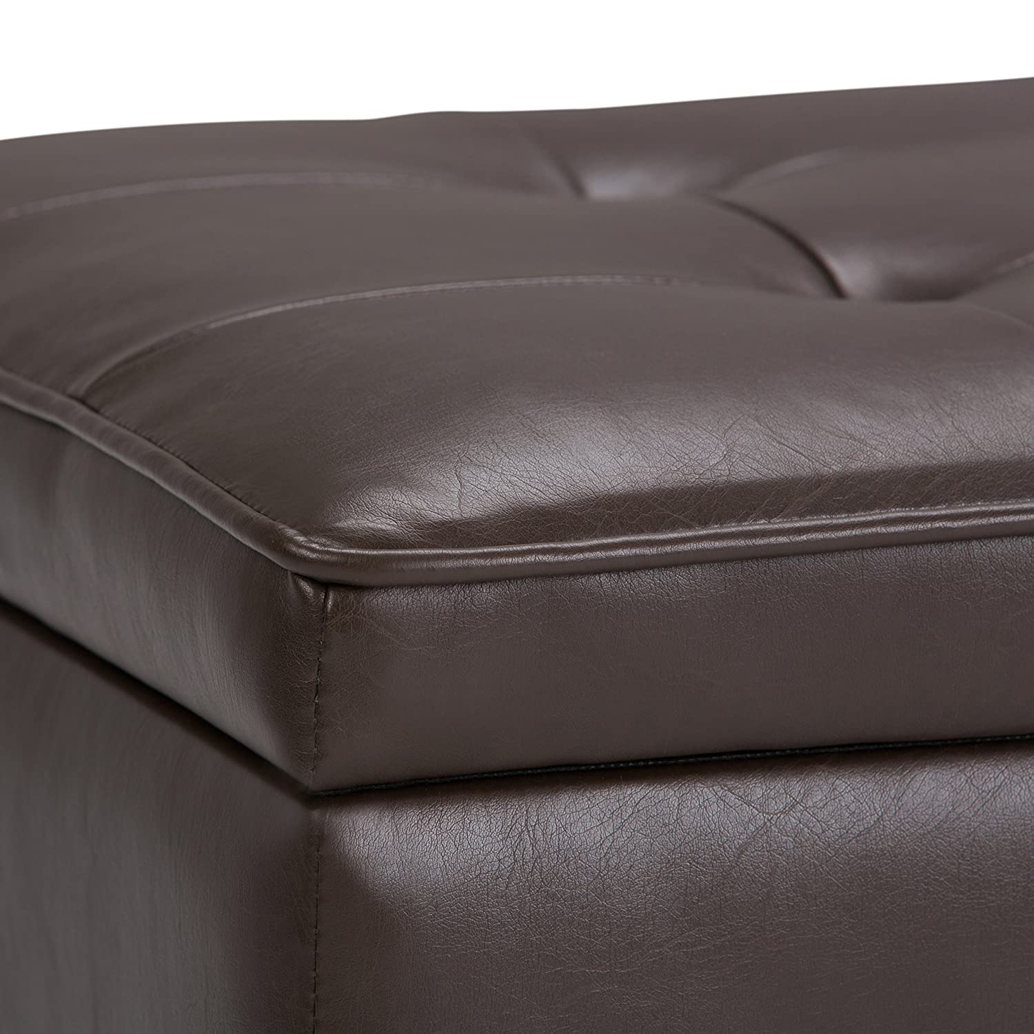 Simpli Home AXCCOS-OTTBNCH-01-CBR Cosmopolitan 44 inch Wide Traditional Rectangle Storage Ottoman Bench with Open Bottom in Chocolate Brown Faux Leather