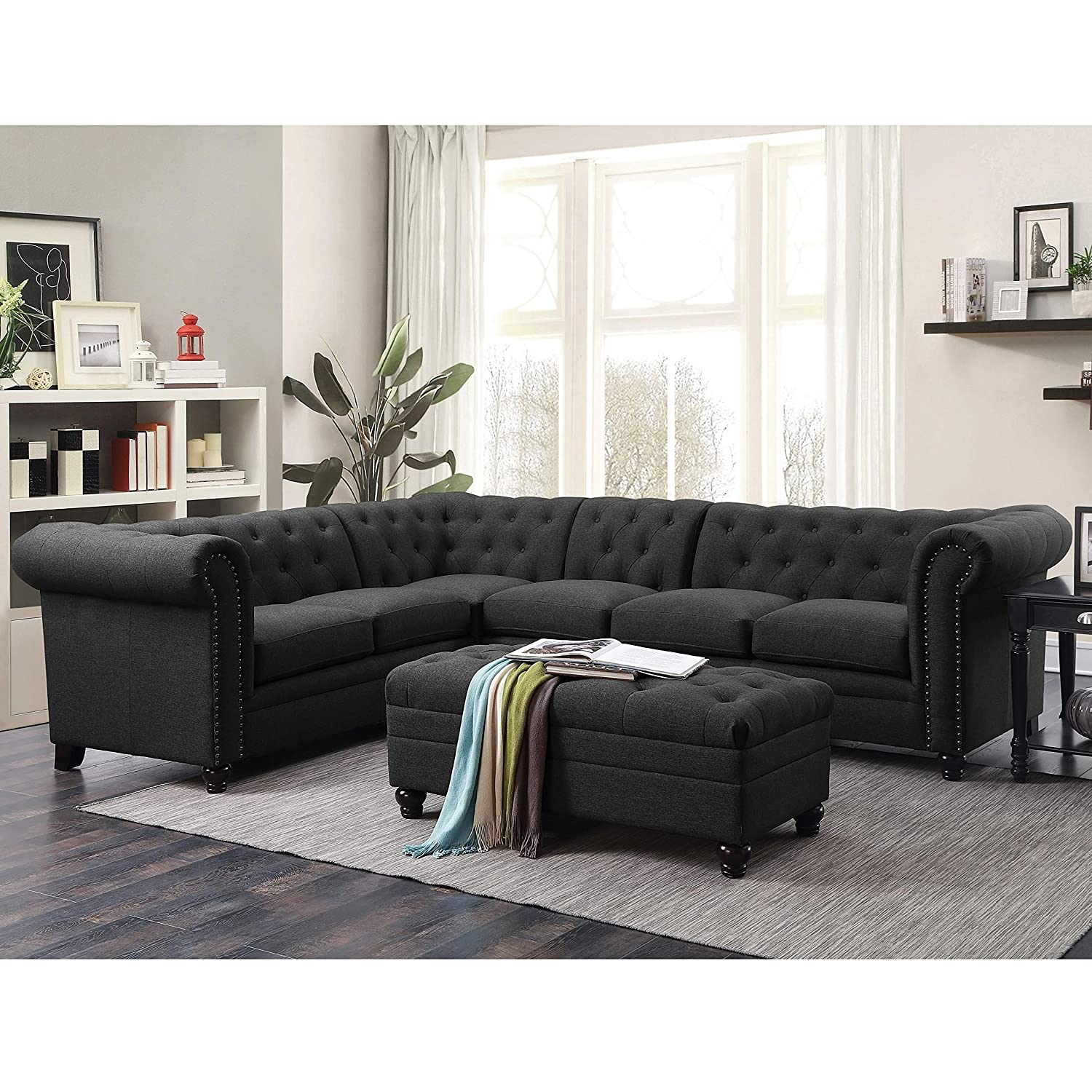 Details about Coaster Home Furnishings 500413 Living Room Sectional Sofa,  Grey