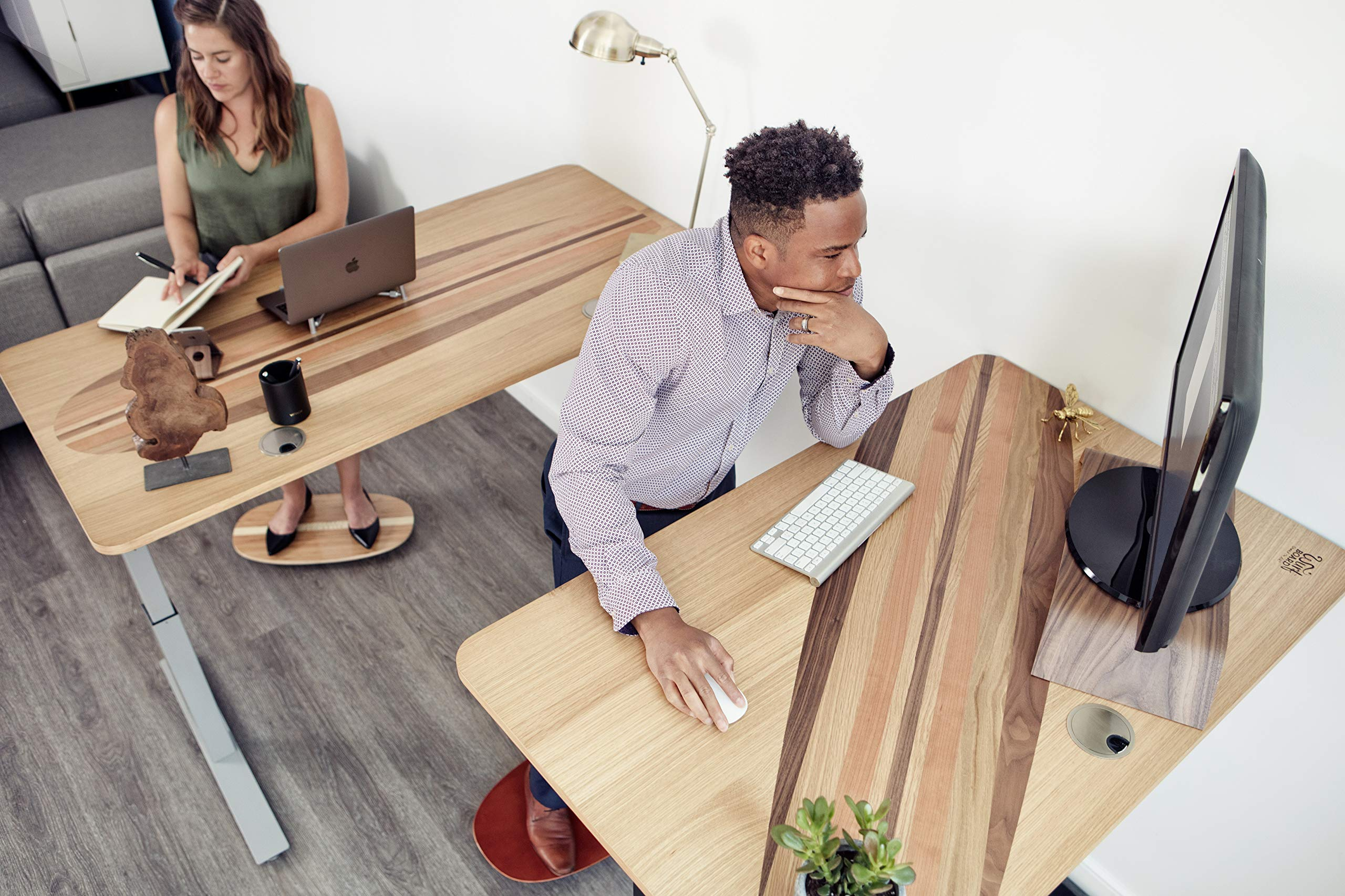 ALLEYOOP Wood Rocker Board • Unique 360° Omni-Directional Rocking Movement • Ergonomically Engineered for Stability at Your Standing Desk (Medium, Cherry)