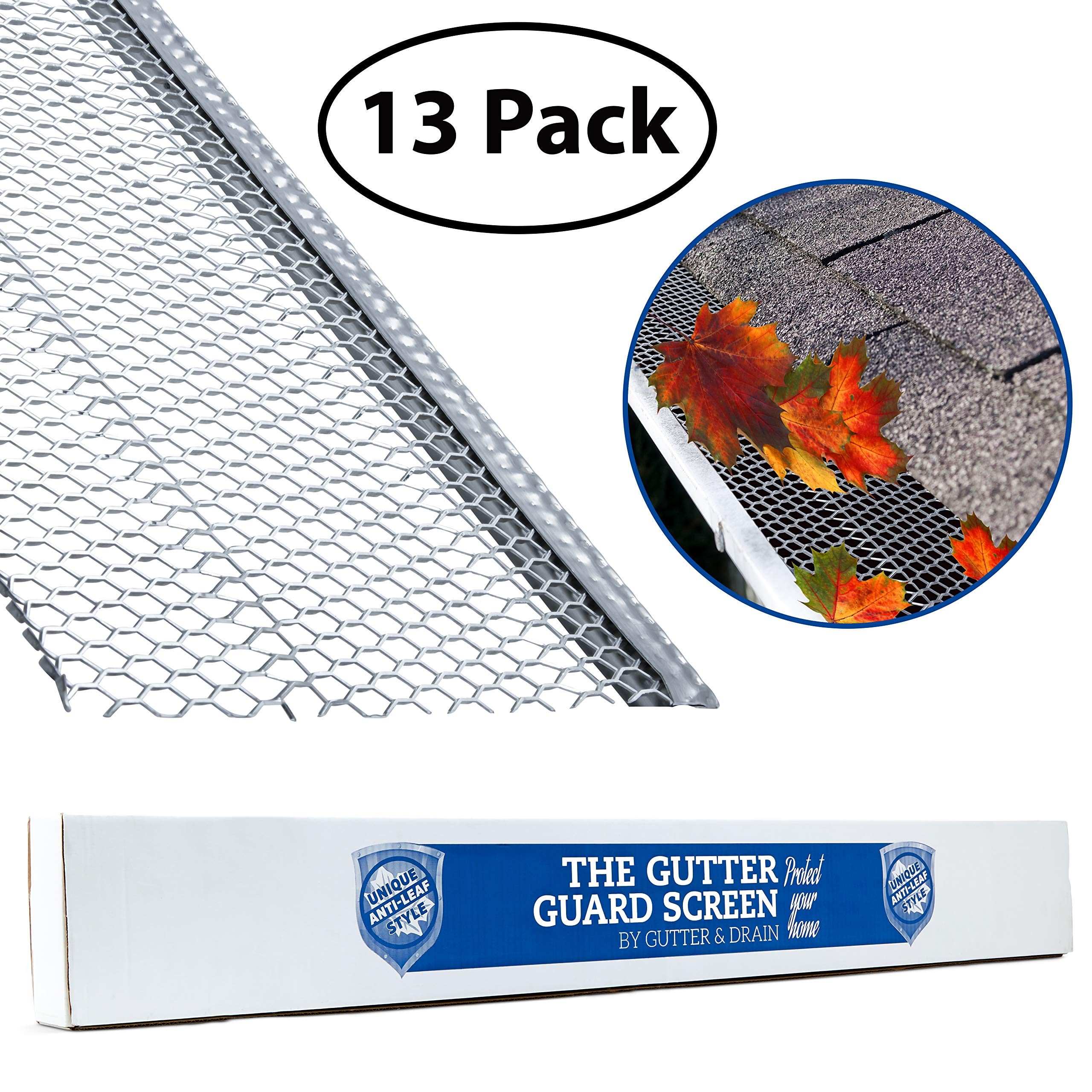 Ultimate Gutter Guard by Gutter&Drain |Ridged Mesh for Extra Protection | Premium Anti-Leaf Gutter Cover Prevents Clogged Downspouts | Easy DIY Installation & Weatherproof Design | 5''(52FT) by Gutter & Drain
