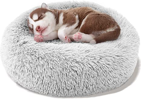 Cat Beds for Indoor Cats Round Faux Fur Donut Cuddler Dog Beds for Small Dog 20//24 Soft Fluffy Calming Cushion Dog Cat Bed Winter Sleeping Cozy Pet Bed Machine Washable Nonslip Waterproof Bottom
