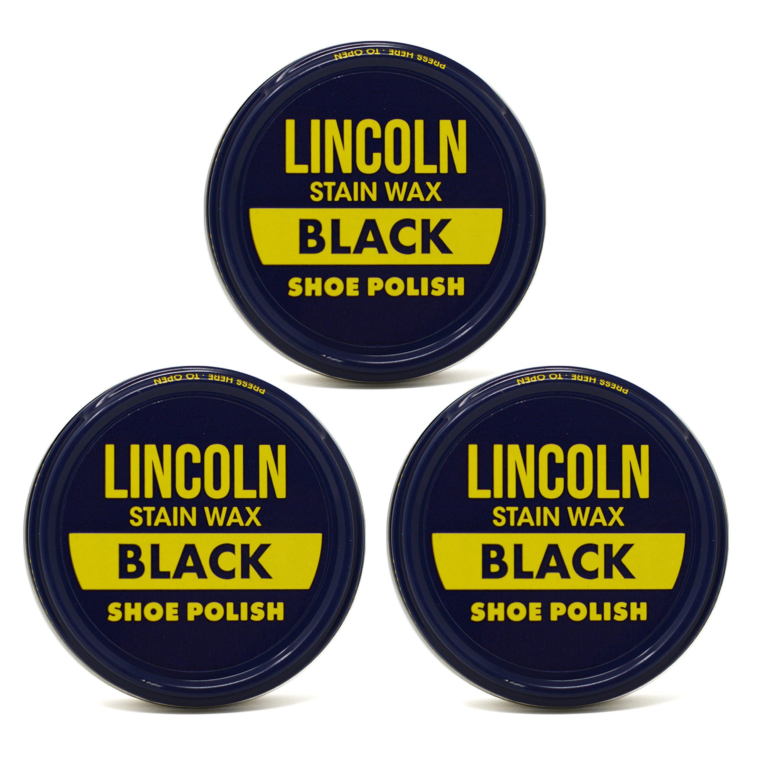 Lincoln Shoe Wax Polish Black 3 Ounces (3 Pack)