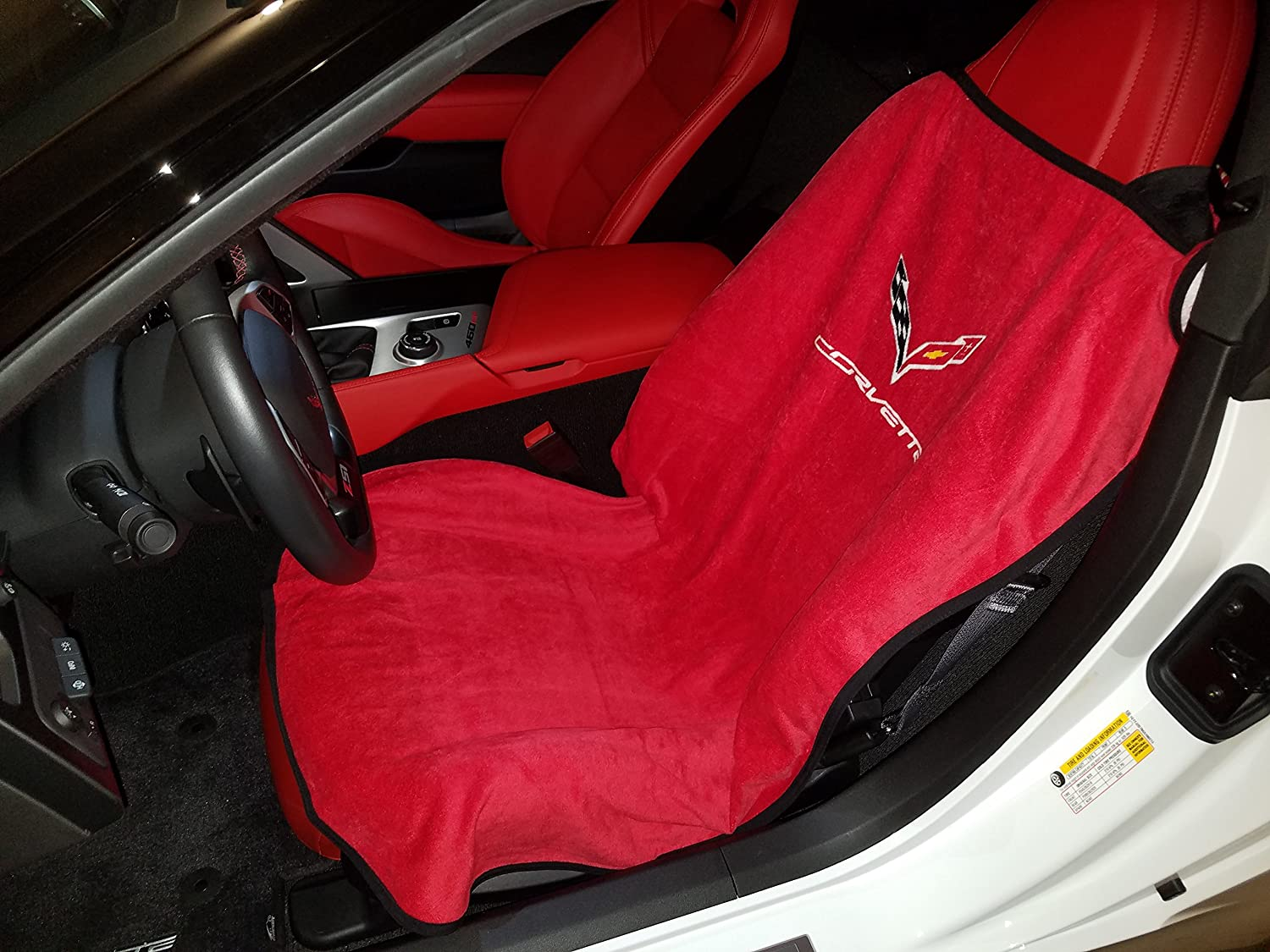 BLACK /& RED  TWO TONE REAL LEATHER ARMREST COVER FITS CORVETTE C7 2014-2017