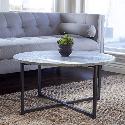 Amazon Com Household Essentials Round Gray Coffee Table Grey