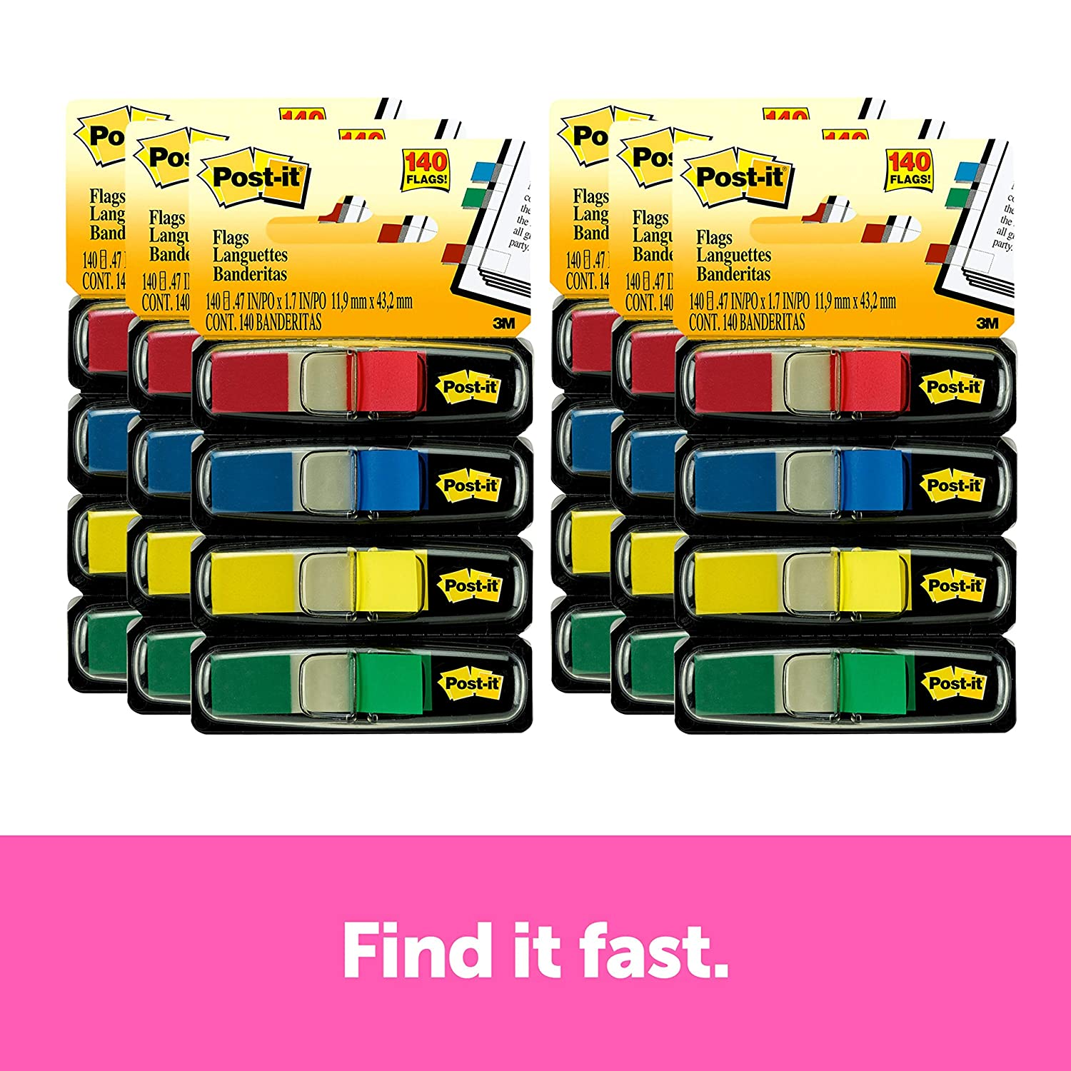 Post-it Flags Assorted Primary, Four Colors, 35 Flags Each Color, Red, Blue, Green and Yellow - 140 Total Flags Per Pack. 6 Packs Included. Flags are .47 in x 1.7 in (683-4-6Pk)