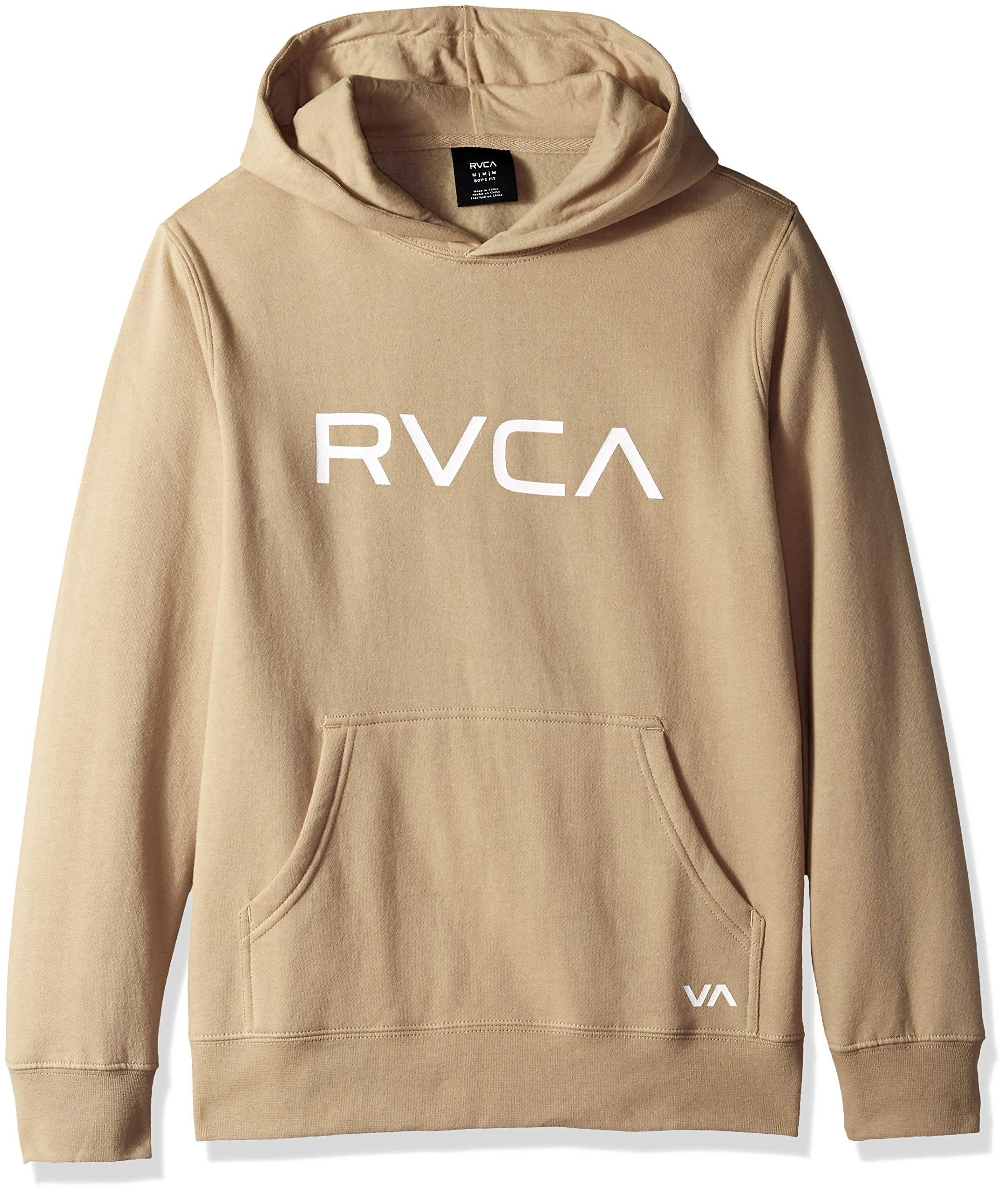 RVCA Boys Big Pullover Hooded Sweatshirt, Khaki, M