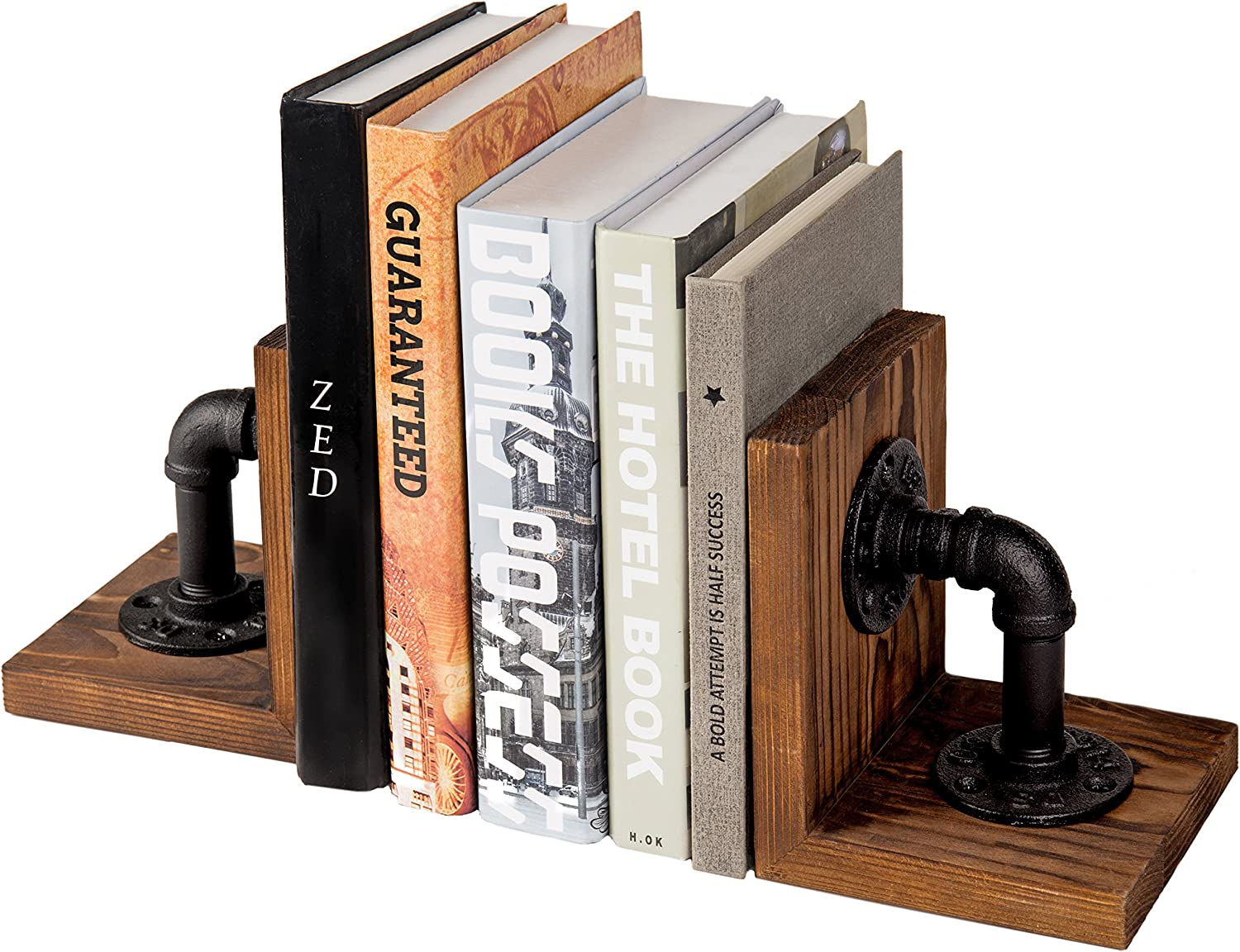 Amazon Com Mygift Industrial Style Pipe Rustic Wood Tabletop Bookends 1 Pair Home Kitchen
