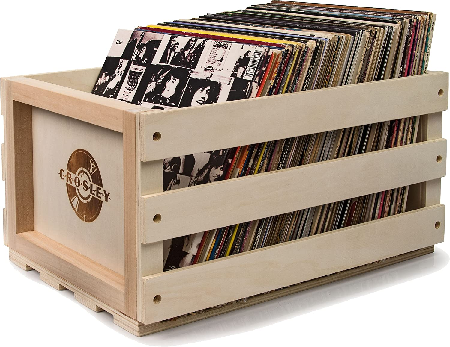 Beau Amazon.com: Crosley AC1004A NA Record Storage Crate Holds Up To 75 Albums,  Natural: Home Audio U0026 Theater