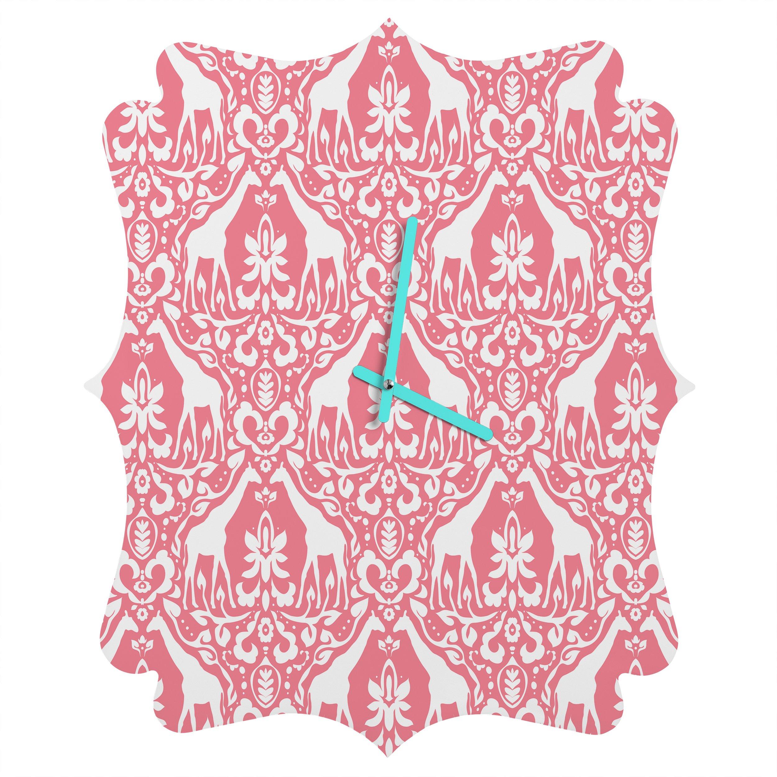 Deny Designs Jacqueline Maldonado, Giraffe Damask Salmon Pink, Quatrefoil Clock, Medium
