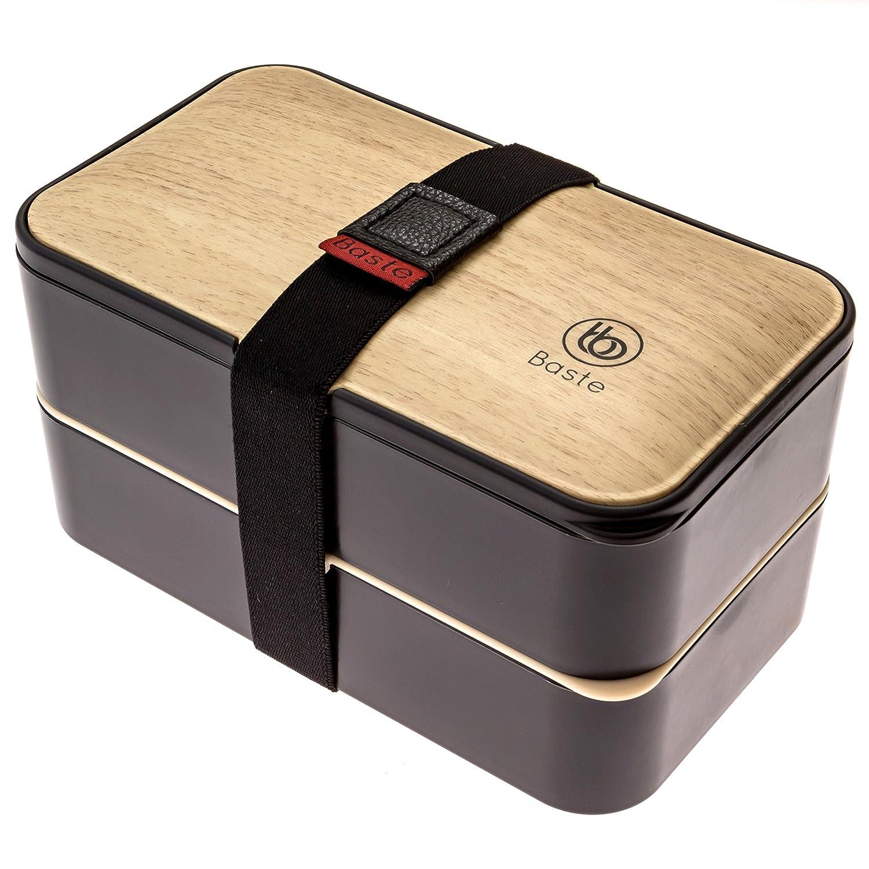 Bento lunch box doble, estilo madera, incluye cubiertos