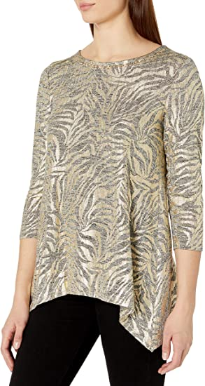 Womens Plus-Size Embellished Zebra Stripe Printed Foil Heather Jersey Top Ruby Rd