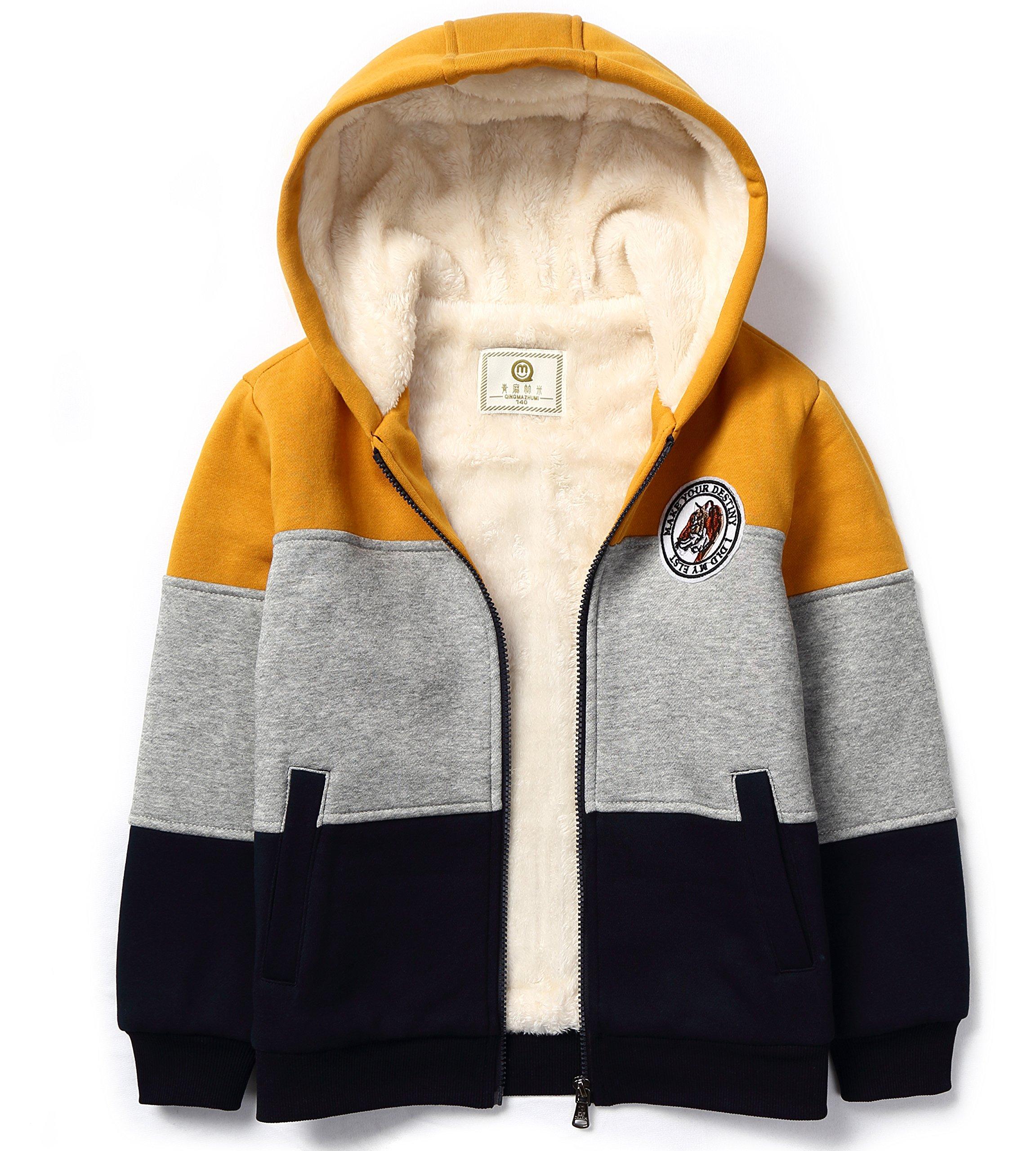 Bumeex Boys Sherpa Fleece Lined Jacket Warm Sweatshirt Hoodie(3-10years 5-6years(120), Dark Yellow
