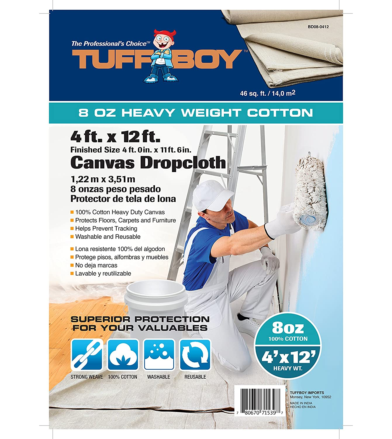 Tuff Boy Cotton Canvas Drop Cloth, Seamless, 4 x 12 Feet, 8 oz