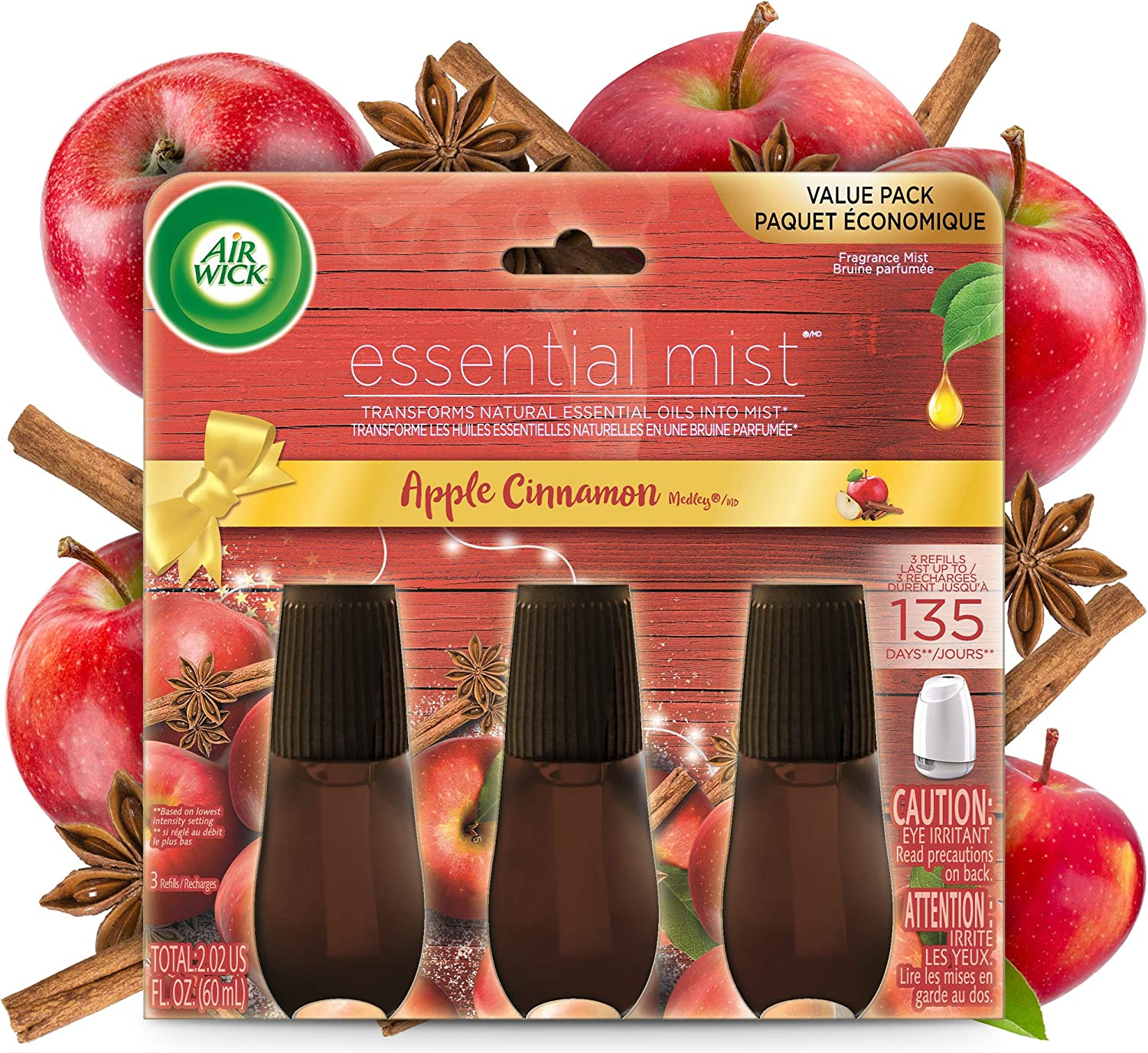 Air Wick Essential Mist, Essential Oils Diffuser, Apple Cinnamon Medley, 3ct, Fall Scent, Fall Spray, Air Freshener