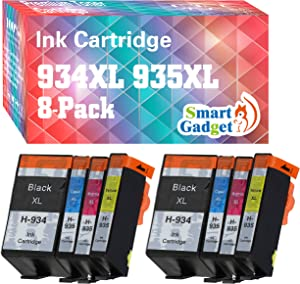 Smart Gadget Compatible Ink Cartridge Replacement for HP 934XL 935XL 934 XL 935 XL High Yield to use for OfficeJet 6220 6800 6812 6815 6820 6822 6825 Printer (8 Pack, 2 BK + 2 C + 2 M + 2 Y)