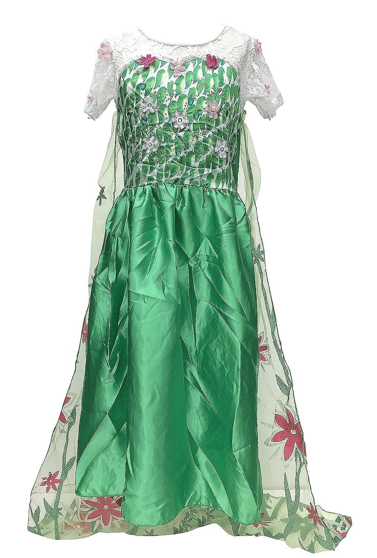La Señorita Elsa Frozen Fever Vestido de Princesa para niña Capa largo disfraz verde (7-8 años - 130, verde) + Collar Frozen GRATUITO: Amazon.es: Juguetes y ...