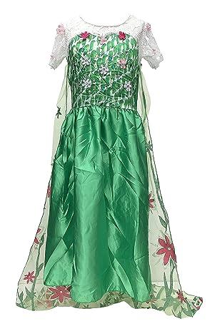 La Señorita Elsa Frozen Fever Vestido de Princesa para niña Capa largo disfraz verde (7