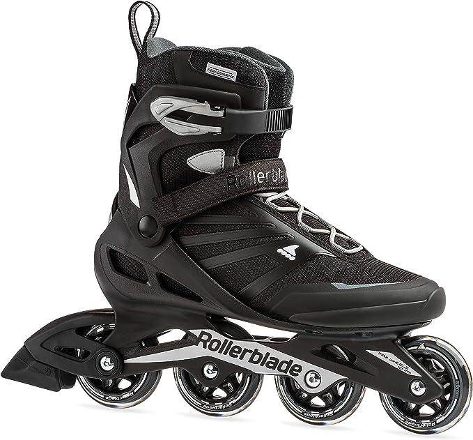 Trượt patin Zetrablade dành cho nam giới dành cho người trưởng thành, màu đen và bạc, giày trượt nội tuyến hiệu suất