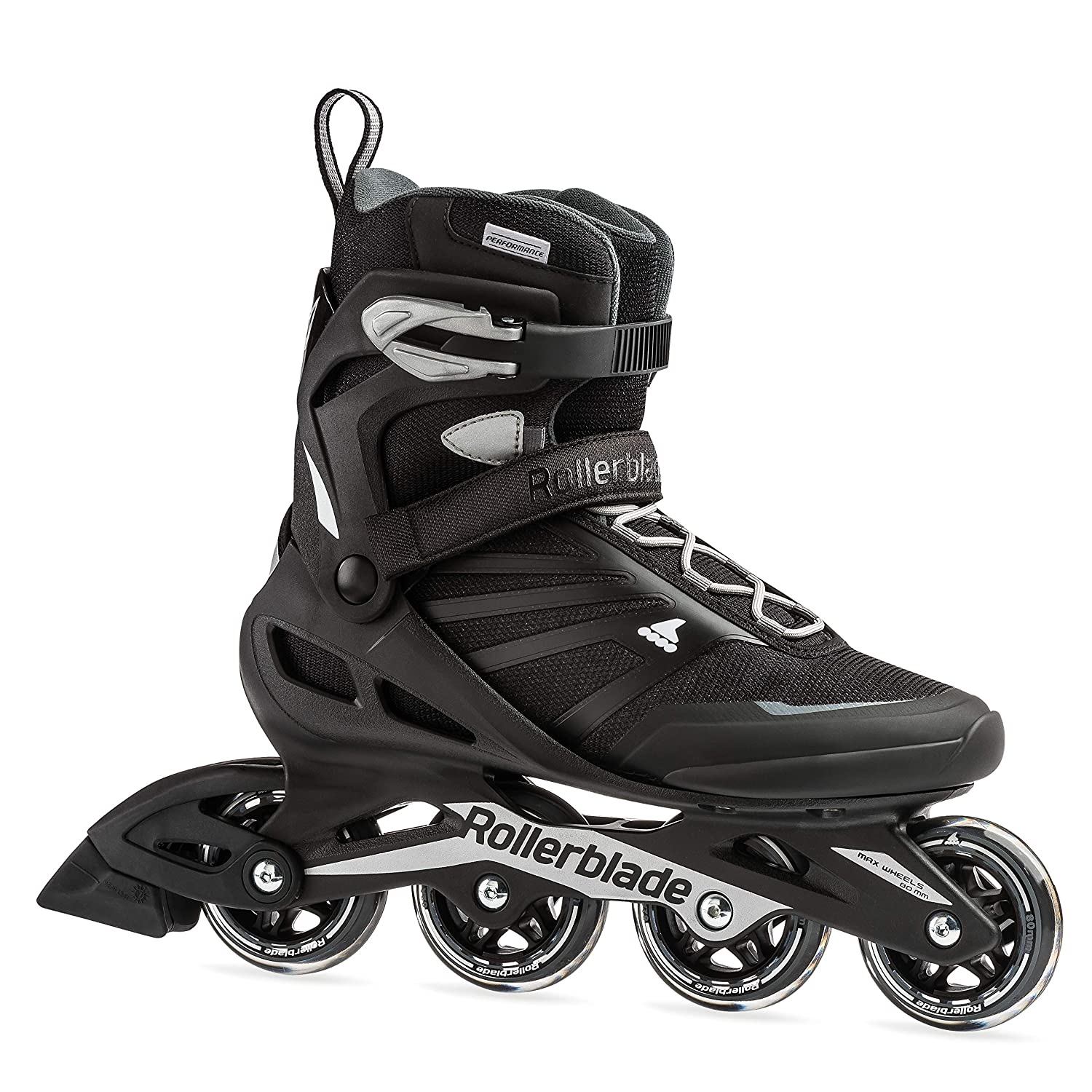 Rollerblade Zetrablade Men's Adult Fitness Inline Skate, Black and Silver, Performance Inline Skates