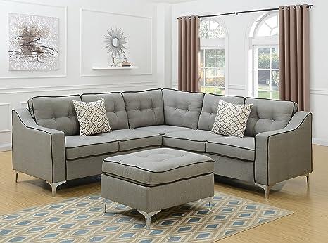 Amazon Com Modern Modular 4pcs L Shaped Sectional Sofa Bobkona