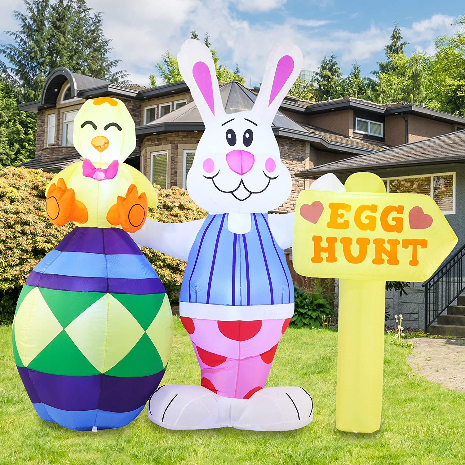 Joiedomi Easter Inflatable Outdoor Decorations 6 ft Tall Bunny with Sign Inflatable with Build-in LEDs Blow Up Inflatables for Easter Holiday Party Indoor, Outdoor, Yard, Garden, Lawn Decor.