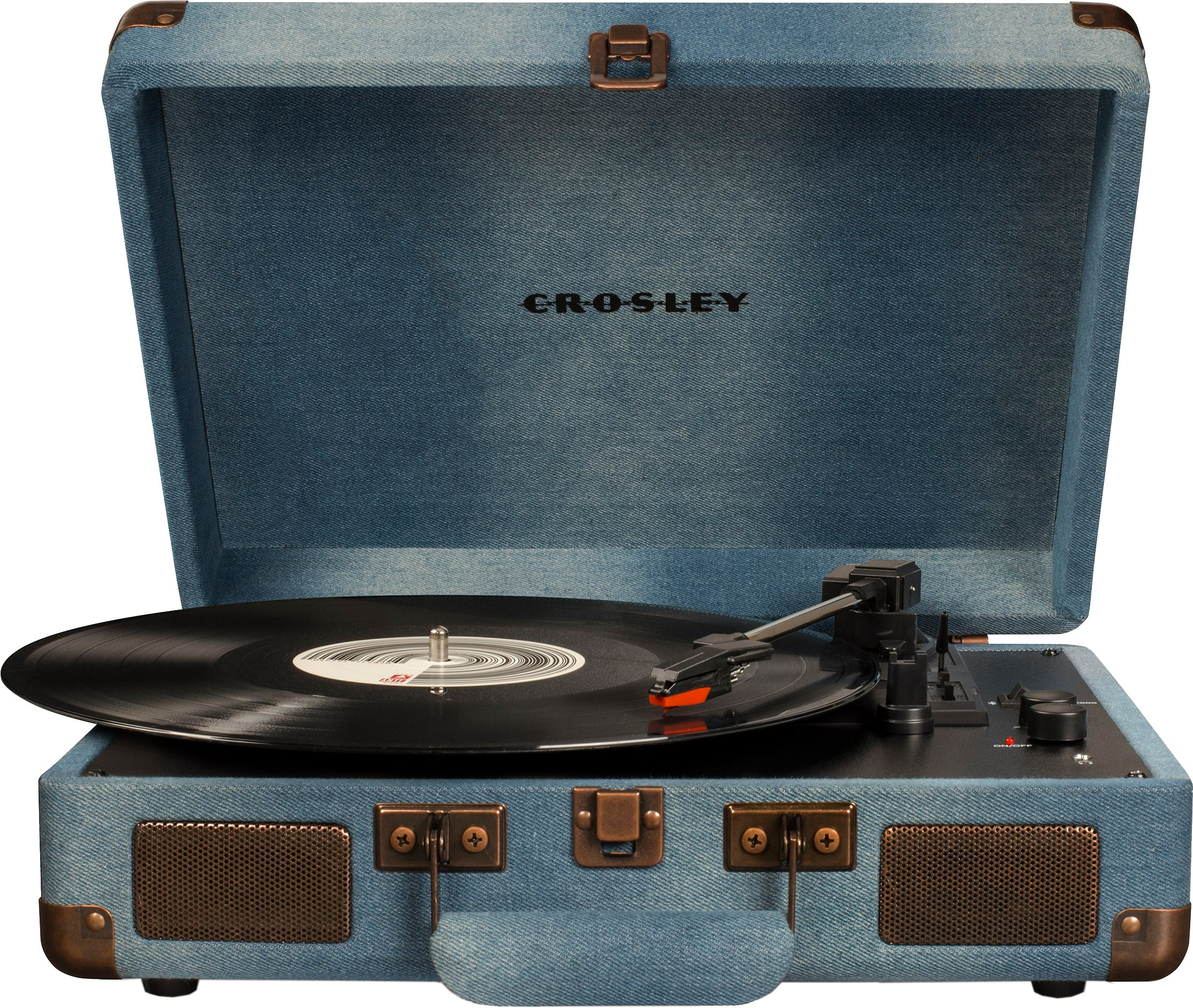 Crosley CR8005D-DE Cruiser Deluxe Portable 3-Speed Turntable with Bluetooth, Denim by Crosley