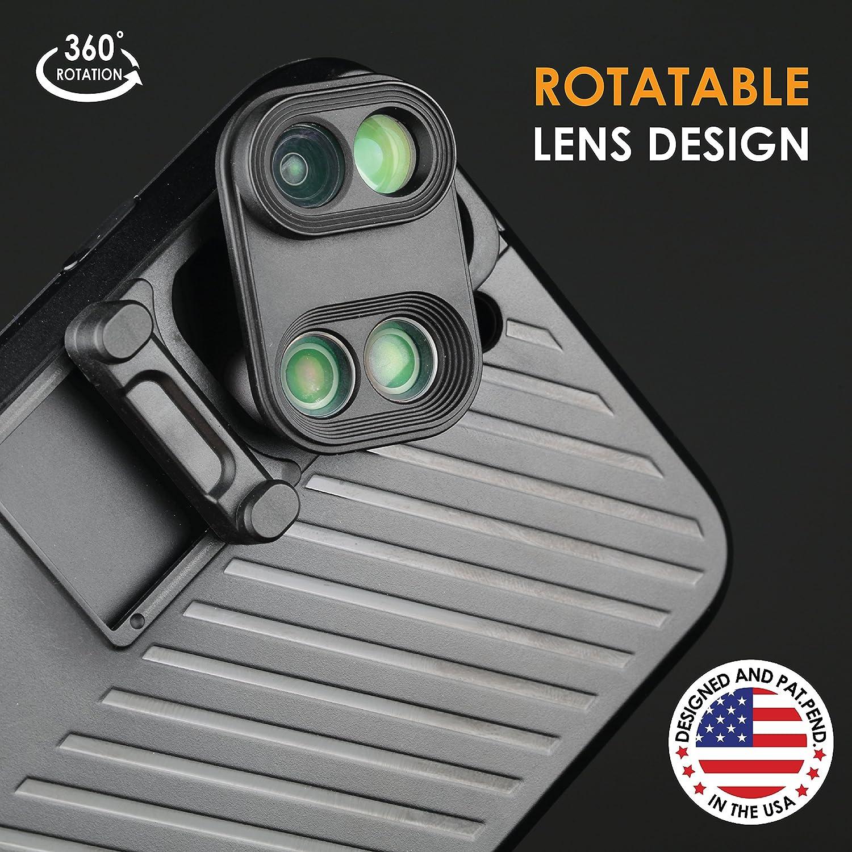Telephoto Black Ztylus Revolver Lite Kit 4 in 1 Rotatable Dual Optics Lens System for iPhone 8 Plus//iPhone 7 Plus: Fisheye Macro and Super Macro