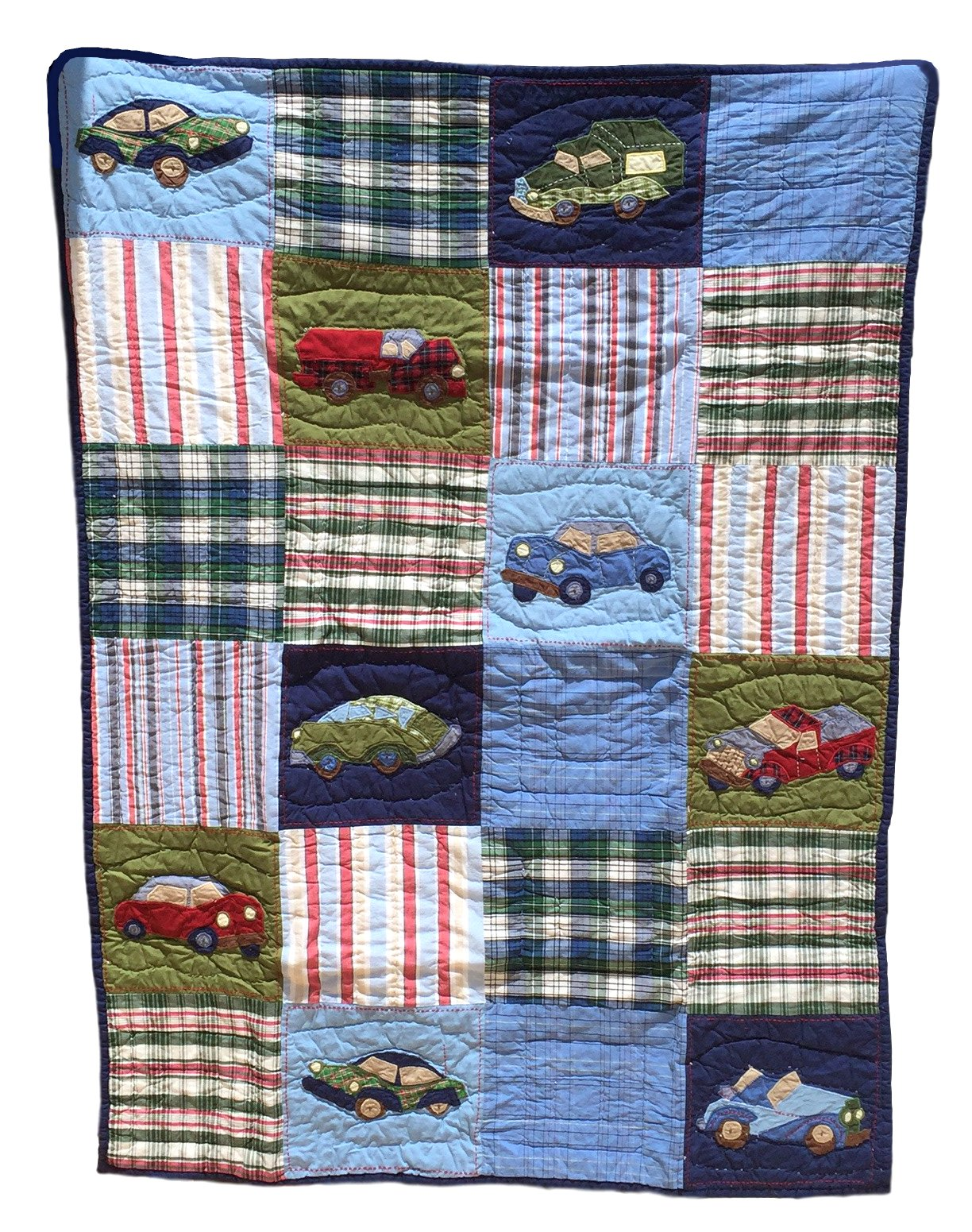 Baby Boy Quilts, Baby Blankets For Boys in a Patchwork Quilt Style, With Appliques, 100% Cotton, Include Quilt and 1 Coordinated Sham, 61 x 50, Multiple Designs (Racing Car Baby)